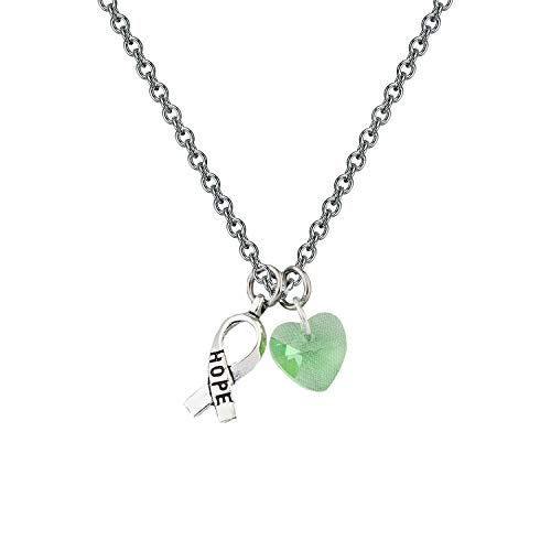 CHOROY Green Awareness Necklace with Hope Ribbon Charm Cancer Awareness Jewelry Gift for Lymphoma/Lyme Disease/Mental Illness/Bipolar Disorder(Lime Green Awareness Necklace)