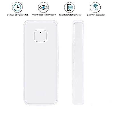 NPL Smart WiFi Door Sensor Wireless Garden Window Security Magnet Sensor with Easy App for Home Garage Farm Garden Office Compatible with Alexa Google Home IFTTT TUYA