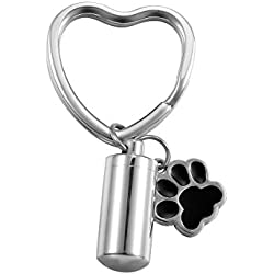 VALYRIA Stainless Steel Keychain Cylindrical Bottle Pet/Dog Paw Urn Charm Cremation Keepsake Ashes