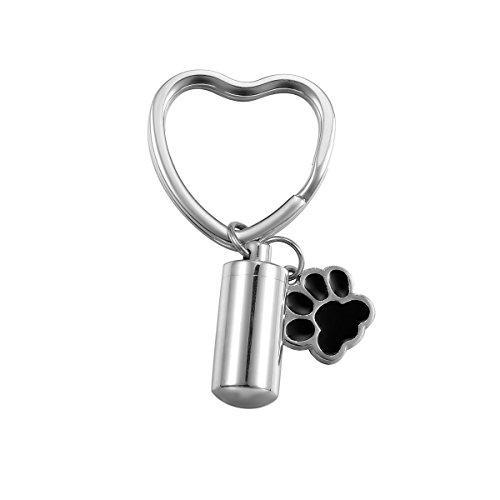 VALYRIA Stainless Steel Keychain Cylindrical Bottle Pet/Dog Paw Urn Charm Cremation Keepsake Ashes