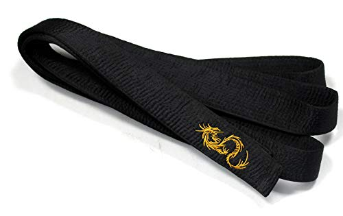 Shihan Karate Black Belt Satin Golden Dragon Embroidery 300cm Length Kempo Kickboxing (Satin Black Belt)