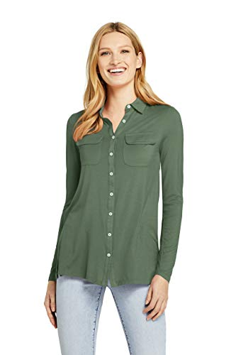 Lands' End Women's Long Sleeve Button Down Tunic, L, Hedge Green from Lands' End