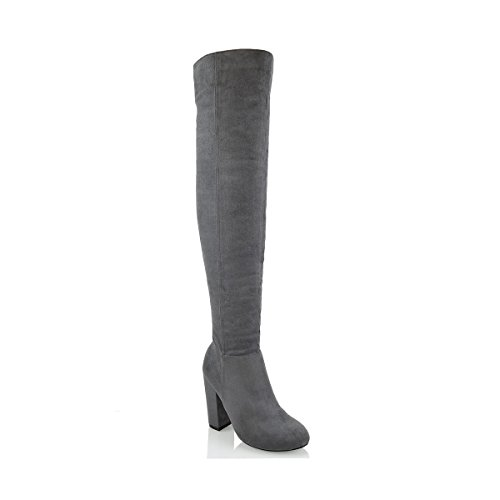 ESSEX GLAM Womens Chunky Heel Boots Thigh High Cut Out Faux Suede Round Toe Long Boots Grey Faux Suede