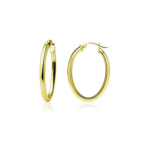 (Yellow Gold Flashed Sterling Silver 2mm Oval Square-Tube Hoop Earrings, 20mm)