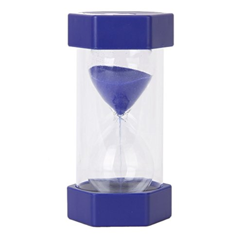 Security Safety Fashion Hourglass Sand Clock Timer for Children Brush Teeth Kitchen Countdown (15 Minutes, Blue) (15 Min Sand Timer)