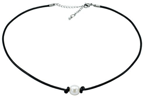 Freshwater Cultured 9.5-10.5mm Single Pearl Choker Necklace on Black Leather Cord with Ext. (Choker Clasp)