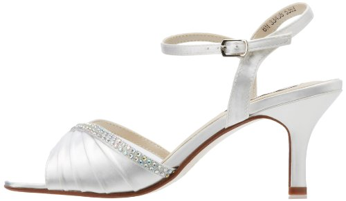 Touch Ups Women's Val Leather Sandal,White Satin,6.5 W US
