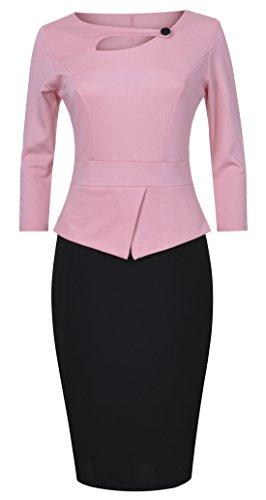 POZON Women's Elegant Chic Bodycon Formal Dress (2XL, Pink/Black)