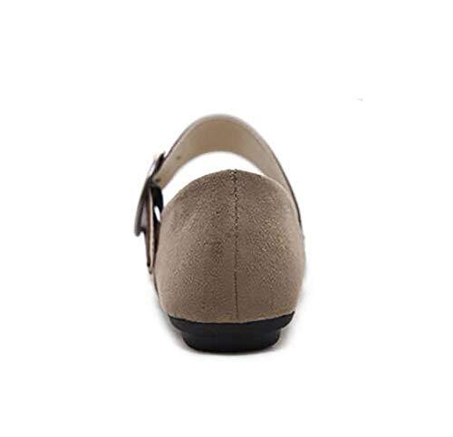 Cn39 Respirant Us8 Taille En uk3 eu36 Pour Us5 Marron 5 Oudan Brown Dames Uk6 Décontractée Mode D'été Cuir Eu39 cn35 coloré De 5 Marron Chaussures Boucle Plates wXHqOap0