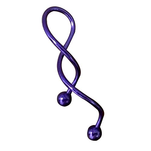 super1798 1Pc 14g Cool Twist Spiral Ear Industrial Barbell Belly Ring Piercing Earring - Purple ()