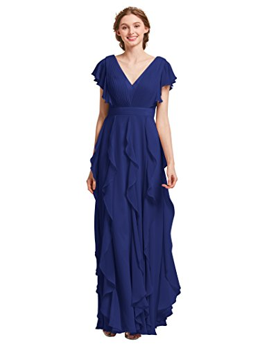(AW Bridal Long Bridesmaid Dresses for Women Formal Dresses with Sleeves Chiffon Gowns and Evening Dresses, Royal Blue, US14)