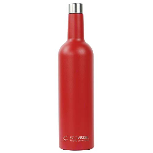 - EcoVessel Vine TriMax Triple Insulated Stainless Steel Wine Bottle w/Silicone Funnel and Cleaning Brush - 750 mL - Jazz Red