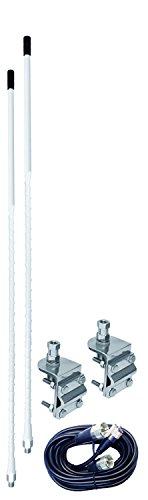 Dual Antenna Kit - ACCESSORIES UNLIMITED - 2 FOOT WHITE DUAL CB ANTENNA KIT WITH 3-WAY SO239 MIRROR MOUNTS & 9' COAX CABLE & PL259 CONNECTORS