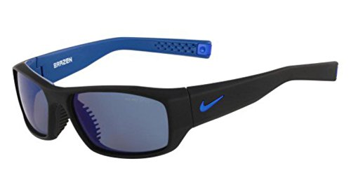 (Nike Grey with Flash Lens Brazen R Sunglasses, Matte Black/Military Blue)