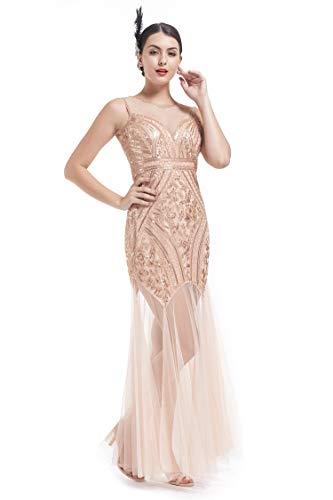 KILOLONE 1920s Flapper Dresses Maxi Long Gatsby Dress Sequin Evening Prom Dresses]()
