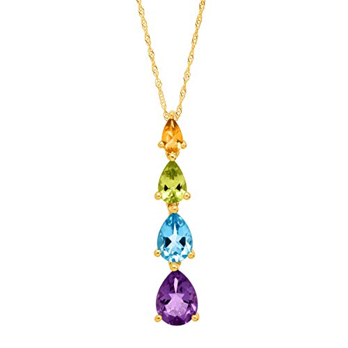 2 3/8 ct Natural Multi-Stone Journey Drop Pendant Necklace in 10K Gold