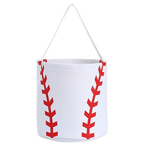 E-FirstFeeling Baseball Basket Easter Basket Easter Hunt Bag for Kids Candy Gift Bucket Tote (Baseball)