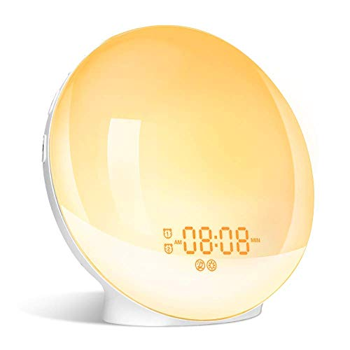 Wake Up Light, GRDE Night Light/Alarm Clock Colored Sunrise Simulation & Sleep Aid Feature, Dual Alarm Clock settable…