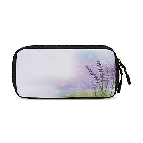 - Lavender Practical Data Storage Bag,Nature Inspired Abstract Backdrop with Gentle Pastel Lavender Stems Decorative for Organizing Cables,One Size
