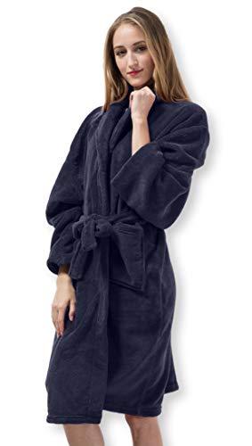 Pembrook Ladies Robe - Soft Fleece – Navy - Size S/M – Spa Bathrobe Women ()