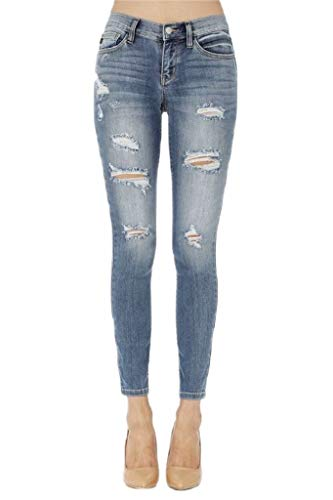 ba07c637f590 Jersey Glam Judy Blue Mid Rise Destroyed Skinny Ripped Stretch Jeans (32)