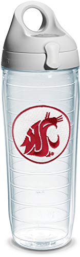 Tervis Washington State University Emblem Individual Water Bottle with Gray Lid, 24 oz, Clear