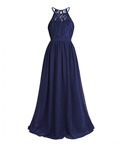 CHICTRY Kids Girls Halter Neck Chiffon Long Party Junior Wedding Evening Prom Maxi Gown Dress Navy Blue (Halter Wedding Gown Dress)