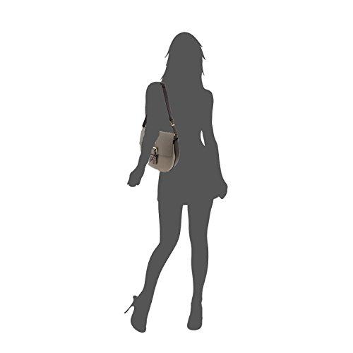 FURLA HASHTAG Borsa a spalla con patta fibbia in pelle ARGILLA/NERO