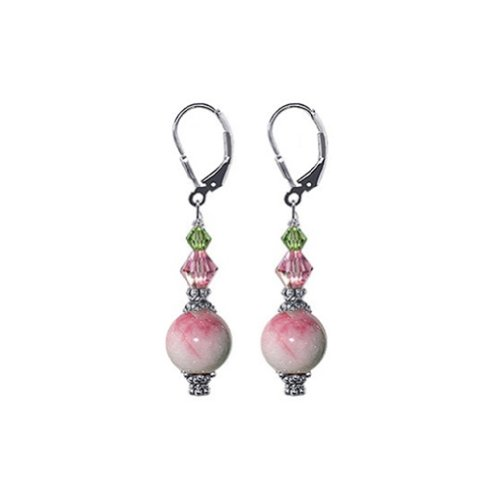 Gem Avenue Sterling Silver Pink Soapstone Handmade Dangle Earrings with Swarovski Elements Crystal