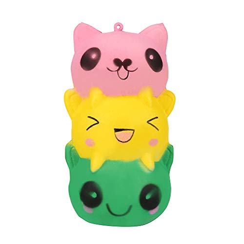 Mikilon Squishies Three Layer Cat Slow Rising Jumbo Toys Rainbow Color Kitten Prime Kawaii Stress Reliever (Pink Yellow Green)]()