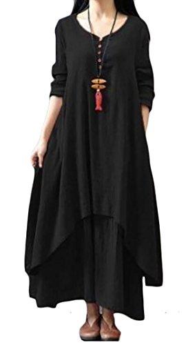 Manches Longues De Lin De Coton Rétro Des Femmes En Couches Domple Noir Robe Longue Irrégulière