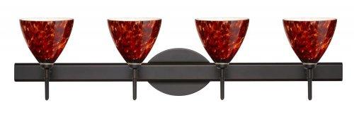 Besa Lighting 4SW-177941-BR 4X40W G9 Mia Wall Sconce with Garnet Glass, Bronze Finish
