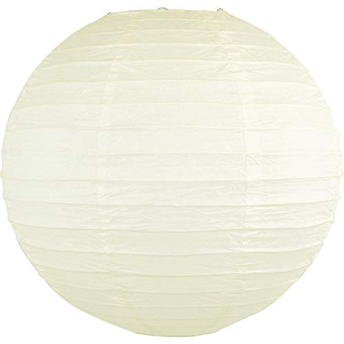 Just Artifacts 24-Inch Ivory Round Chinese Japanese Paper Lantern (1pc, Ivory)