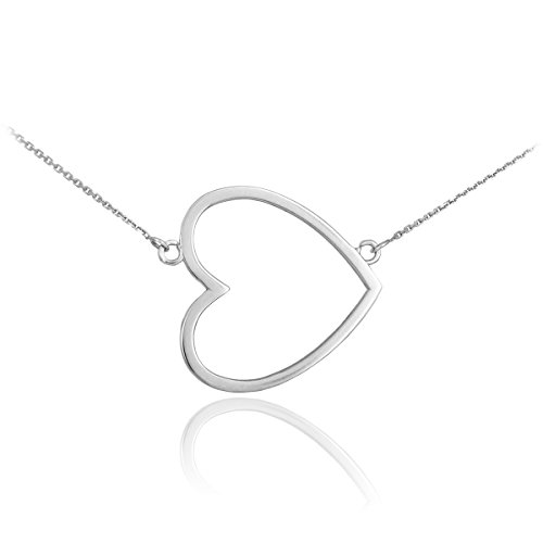(Dainty Sterling Silver Sideways Open Heart Necklace (16 Inches) )