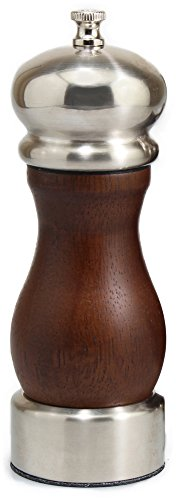 Olde Thompson 3043-00 Anne Universal salt or pepper mill, Walnut with brushed top and - Walnut Peppers Olde Thompson