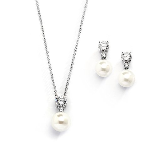 Mariell Cubic Zirconia & Ivory Pearl Wedding Necklace and Earrings Jewelry Set for Bridesmaids & Brides -