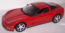 Motormax 1/24 Scale Diecast 2005 Chevrolet Corvette C6 in Color Red (C6 Corvette Toy)