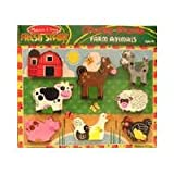 """Melissa & Doug Farm Chunky Puzzle, Preschool, Chunky Wooden Pieces, Full-Color Pictures, 8 Pieces, 1"""" H x 9"""" W x 12"""" L"""