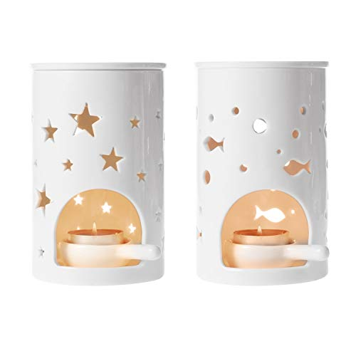 (T4U Ceramic Tealight Candle Holder Oil Burner, Essential Oil Incense Aroma Diffuser Furnace Home Decoration Romantic Gift White Set of 2)