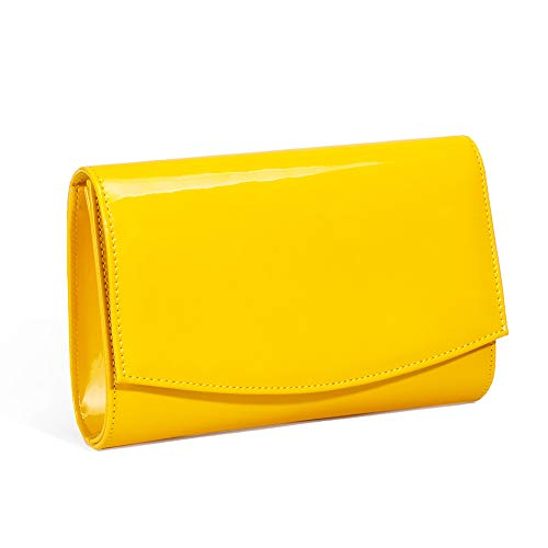 Clutch Purse Handbag Bag - Women Patent Leather Wallets Fashion Clutch Purses,WALLYN'S Evening Bag Handbag Solid Color (Mango Mojito)