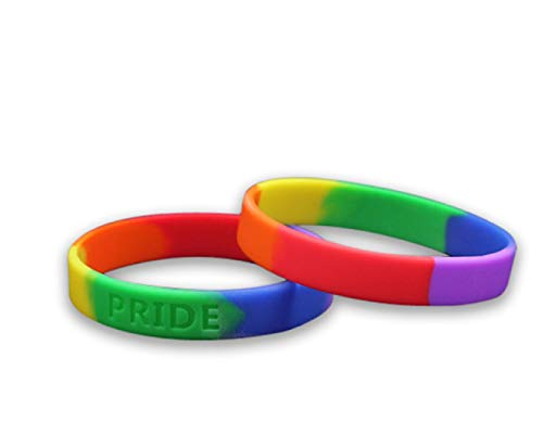 Fundraising For A Cause 2 Pack LGBTQ - Rainbow Pride Silicone Bracelets (2 Adult Bracelets in a Bag) ()