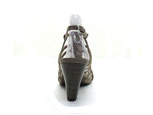 Marco Tozzi - sandalia de tacón alto Beige o negro beige - beige