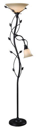 Kenroy Home 32241ORB Ashlen Mother and Son Torchiere, - Leaf Floor Lamp