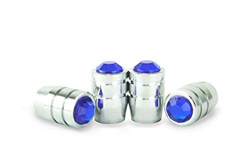 Preminum Bling Crystal Rhinestone NAVY BLUE-A Tire Rim Valve Stem Metal Chrome Cap