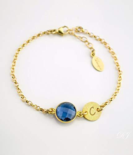 (September Birthstone Bracelet - Personalized bracelet - Kyanite bracelet - bezel set bracelet - Kyanite jewelry - initial birthstone jewelry, bridesmaid bracelet, baby shower bracelet, new mom present)