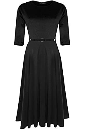 NEW LADIES WOMEN/'S 3//4 SLEEVE SKATER DRESS FRANKI SWING DRESS PLUS SIZE 8-26 UK