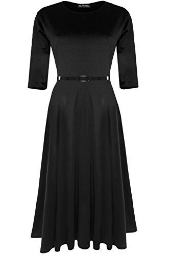 Fashion Star Womens Plain 3 4 Sleeves Casual Party Swing Midi Skater Dress   Amazon.co.uk  Clothing 407d7762a