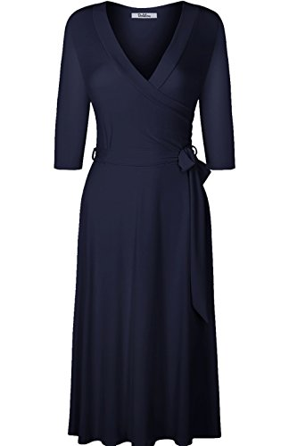 BodiLove Women's 3/4 Sleeve V-Neck Solid Knee Length Wrap Dress Navy M (Wrap Blue Navy Dress)
