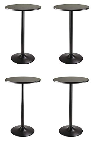 Winsome Obsidian Pub Table Round Black MDF Top with Black Leg and Base - 23.7-Inch Top, 39.76-Inch Height (Pack of 4)