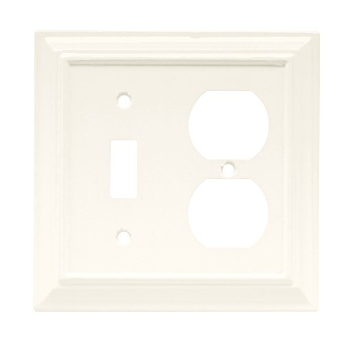 - Brainerd 64544 Wood Architectural Single Toggle Switch/Duplex Wall Plate / Switch Plate / Cover, Cream/Off White